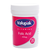 Picture of Valupak Folic Acid 400mg 90s - 2509693