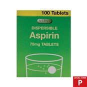 Picture of Aspirin Dispersible Tabs 75mg 100s (P) - ASP002