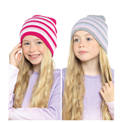 Picture of Girls Striped Beanie Hat - GL071
