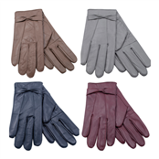 Picture of Ladies Coloured Leather Glove With Bow - GL147