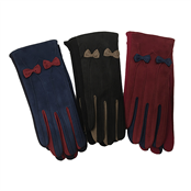Picture of Ladies Suedette Gloves With Bow Asstd - GLOVE03