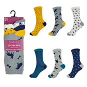 Picture of Ladies Design Socks 3Pr Pack Uk 4-7 - SK256