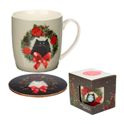 Picture of Christmas Cat Design Ceramic Mug/Coaster - XMUGC14